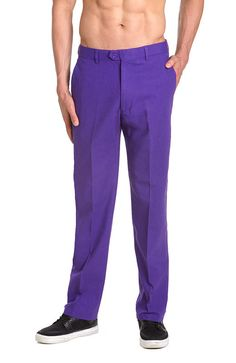929414f0 Linen Men's Dress Pants Trousers Flat Front Slacks PURPLE INDIGO CONCITOR