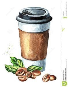 Coffee to go paper cup and coffee beans. Coffee to go paper cup and coffee beans. Watercolor hand drawn illustration, isolated on white background Stock Photo , . Japon Illustration, Coffee Illustration, Watercolor Illustration, Coffee Drawing, Coffee Painting, Coffee To Go, Coffee Art, Cool Art Drawings, Art Drawings Sketches