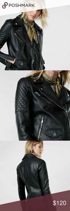 ✨NEW✨ Express Vegan Leather Quilted Moto Jacket ✨Hey there, rebel. This luxe (minus the) leather moto rocks quilted shoulders, an asymmetrical collar and silver hardware to put some edgy attitude into your look. Denim, dresses, shorts - you can take this must-have out with anything. ✨Brand New with Tags! ⭐️Reasonable offers will be considered 🚫No lowball offers please! 🙅No trades 💰Bundle and save! Express Jackets & Coats