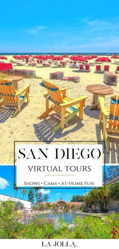 Enhance your visit or learn something new about where you live with cool San Diego virtual tours, shows, cams, and activities that can be enjoyed at home.Check it out here at La Jolla Mom! San Diego Beach, San Diego Zoo, Virtual Travel, Virtual Tour, University Of San Diego, Family Vacation Destinations, Travel Destinations, Hotel Del Coronado, San Diego Travel