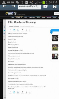 Im so glad I found this saves on my google+. This is a great recipe for cornbread dressing.