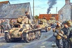 206 Batallón blindado, equipado con tanques capturados Somua S35 y H39 Hotchkiss, llega a la zona de Montbur (Francia) entre el 09 y 10 de Junio de 1944, cortesía de Steve Noon. Más en www.elgrancapitan.org/foro