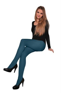 Classic Jeans Blue Plain Microfiber Tights 60 Denier Pantyhose Hosiery S - XL Colored Tights Outfit, Blue Tights, Opaque Tights, Pantyhose Outfits, Nylons, Fashion Tights, Tight Leggings, Sexy Legs, Leotards