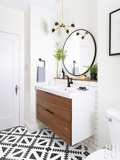 Modern bathroom with round mirror and single sink cabinet note this is an ikea floating vanity Bathroom Sink Cabinets, Bathroom Mirror Cabinet, Mirror Cabinets, Bathroom Furniture, Bathroom Vanities, Mirror Vanity, Wood Vanity, Modern Furniture, Rustic Furniture
