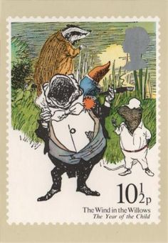 Vintage British The Wind in the Willows 10-1/2 p postage stamp.
