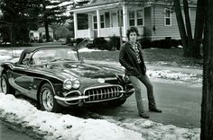 This 1975 image may be an oldie of The Boss (Bruce Springsteen with his 1960 Chevrolet Corvette but apparently the star still drives one, a Blue C5.