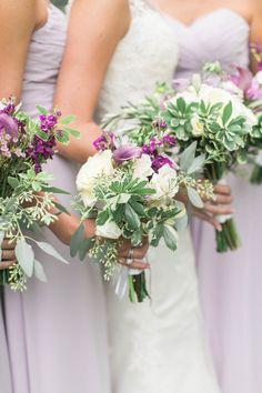 Purple and white bridesmaids bouquets by www.petalsandtwigsrva.com.  Photo Credit: Jillian Michelle Photography