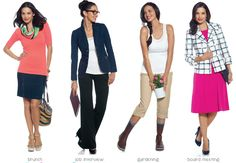 22 looks for less - cost per look (what amazing possibilities in this capsule wardrobe) Look 11: denim skirt, Short sleeve sweater; Look 12: rib tank, Modern Straight leg pant, denim blazer; Look 13: convertible capri, rib tank; Look 14: bracelet sleeve jacket, jersey dress