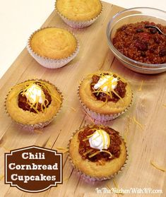 Chili Cornbread Cupcakes #SundaySupper Chili Cook-off - In The Kitchen With KP