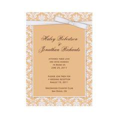Peach and White Damask Post Wedding Invitation