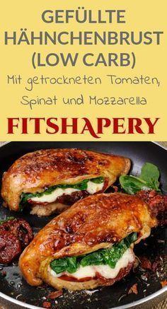 Eine köstliche gefüllte Hähnchenbrust, die zusätzlich auch noch Low Carb ist. Mit getrockneten Tomaten, Spinat und Mozzarella ein wahrer Leckerbissen.