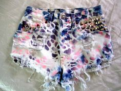 Great tie-dye and studded shorts! could be a d-i-y!
