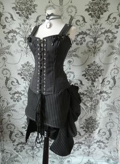 Plus $30 shipping  ON SALE Pinstripe overbust corset-steel boned corset in Freyja style-to fit 32-34 inch natural waist. $94.50, via Etsy.