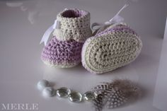 Cuffed Pink and White Crochet Baby Booties Crochet by MerleCrafts