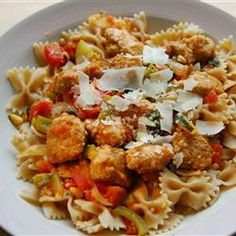 Pasta Primavera with Italian Turkey Sausage. I used chicken sausage and angel hair pasta instead. It is a great dinner!