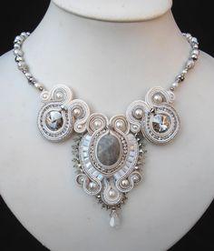 Miriam Shimon White, Cream and Silver Bridal Soutache necklace. $185.00, via Etsy.