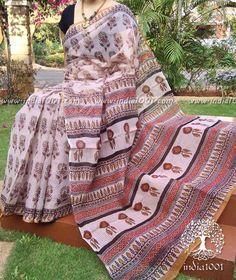Elegant Kota Cotton Saree with Bagru block printing(without bp)