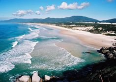 This is one of the many beaches in Florianopolis, Brazil.