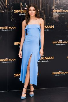 Zendaya was super chic in periwinkle Jonathan Simkhai and Rihanna x Monolo Blahnik heels at the Spider-Man: Homecoming photocall.