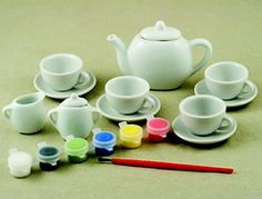 TeaLightful - This would be such a cute idea for a little girl tea party with her firends! Buy one of these sets at Walmart and have all the party guests paint a take-home tea cup. Maybe instead of a party favor. Girls Tea Party, Princess Tea Party, Tea Party Birthday, 6th Birthday Parties, Tea Party Activities, Tea Party Games, Girl Birthday Themes, Birthday Ideas, Royal Tea Parties