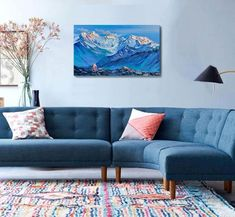 Snowy Mountains, Mountain Landscape, Modern Wall Art, Interior Paint, Oil Painting On Canvas, Landscape Paintings, How Are You Feeling, Etsy, Personalized Pillows