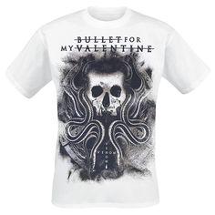 """Classica T-Shirt uomo bianca """"Venom V2"""" dei #BulletForMyValentine con scollo tondo e ampia stampa frontale."""