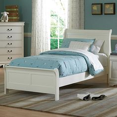 Design your bedroom with this Alfie white twin bed. With this simple and elegant collection, this twin bed frame will fit perfectly with any room decor.