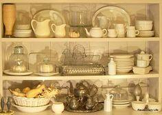hutch decor, countri live, sterling silver, white dishes, baskets, homes, white pumpkins, white hutch, revisionari life