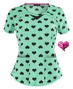 Heartsoul Heart To Forget You-Mint Print Scrub Top Style # Scrubs Outfit, Scrubs Uniform, Healthcare Uniforms, Cute Scrubs, Work Uniforms, Nurse Uniforms, Uniform Advantage, Medical Scrubs, Beanies