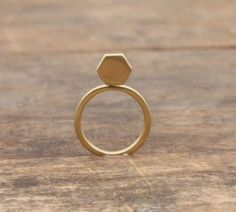 Pigeonhole Gold Hexagon Ring