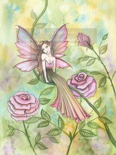 Fairy Fantasy Art Print by Molly Harrison 'Faded Rose'