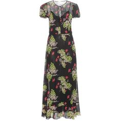 REDValentino Floral-Printed Silk Dress (14 295 UAH) ❤ liked on Polyvore featuring dresses, black, floral printed dress, floral dresses, flower print dress, flower pattern dress and floral pattern dress