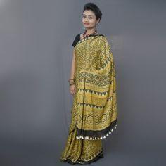 Ajrakh Hand Block Print Natural Dye Modal Silk Saree