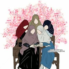 Memiliki banyak sahabat sejati - my ely Cartoon Girl Images, Girl Cartoon, Cute Cartoon, Cartoon Art, Hijab Drawing, Islamic Cartoon, Anime Muslim, Hijab Cartoon, Muslim Women Fashion