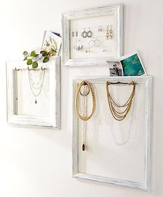 old...whitewashed frames...into...jewelry containment