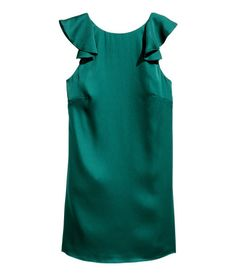 Ruffled Satin Dress | Dark green | Ladies | H&M US