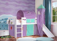 Παιδικό κρεβάτι ECO λευκό οξιά με τσουλήθρα Μωβ-Τιρκουαζ