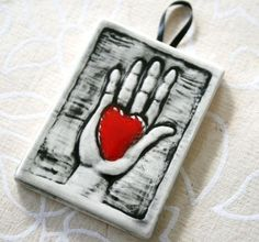 Heart in Hand   small ceramic tile ornament  red by LesperanceTile, $10.50