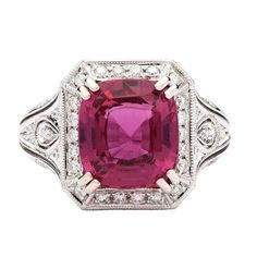 6.07 Carat Natural Pink Sapphire Ring | From a unique collection of vintage cocktail rings at https://www.1stdibs.com/jewelry/rings/cocktail-rings/
