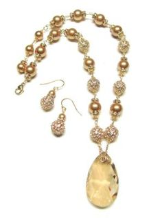 Gold Crystal Pave Necklace Set