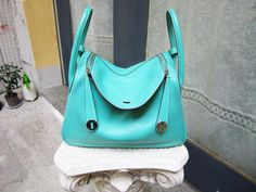 RARE Auth HERMES LINDY 30 Blue LAGOON Bag