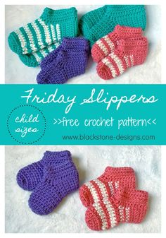 Friday Slippers in Child Sizes free crochet pattern from Blackstone Designs  #freecrochetpattern #crochetslippers #crochet #slippers #forkids #forwomen #formen #thickandquick #warm #cozy #easy