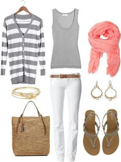 Striped sweater, gray top, white jeans, & pink scarf.