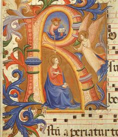 Dec 9: the Annunciation- illuminated manuscript by Fra Angelico- at the Convent of San Marco in Florence