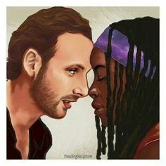 Rick & Michonne - The Walking Dead My Black Is Beautiful, Beautiful Family, Black Love, Black Art, Interracial Art, Interracial Family, Mixed Couples, Cute Couples, Anime Couples
