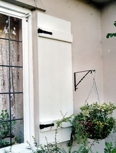 Shop Board & Batten 'rustic look' shutters with joined or space boards, horizontal cross battens and 'Z' bars. Custom built decorative shutters at the lowest UK prices with next day delivery Cottage Shutters, Window Shutters Exterior, House Shutters, House Paint Exterior, Exterior Design, Door And Window Design, Decorative Hinges, Board And Batten Shutters, Fixer Upper House