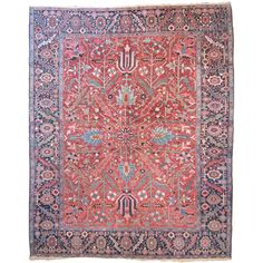Antique Heriz Carpet | From a unique collection of antique and modern persian rugs at http://www.1stdibs.com/furniture/rugs-carpets/persian-rugs/