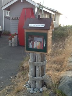 Molly Peterson. Oak Harbor, WA. Our Little Free Library is located on a beach road on Whidbey Island where the wind frequently blows off the water. We attached a hummingbird whirligig for a bit of whimsy and to draw attention. We hope that our library will be visited frequently by our neighbors as well as visitors to our West Beach community.