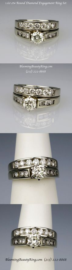 A gorgeous Round Diamond Engagement Ring set that totals 1.60 ctw. BloomingBeautyRing.com (213) 222-8868