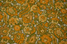 Mod Floral and More Vintage Fabric by thoroughbredthreads on Etsy, $18.00